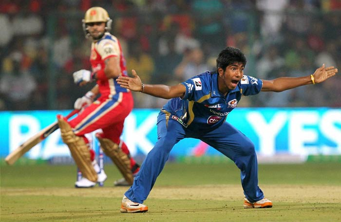 IPL is not only about massive sixes and boundaries. Bowlers too play an important role in making it a game full of excitement and thrill.<br><br>Mumbai's Jasprit Bumrah - the surprise package of IPL 6 - could not hold back his excitement when appealing for the wicket of Bangalore's Mayank Agarwal.<br><Br> The 19-year-old seamer from Ahmedabad took 3 wickets in his debut match against Royal Challengers Bangalore. (PTI image)