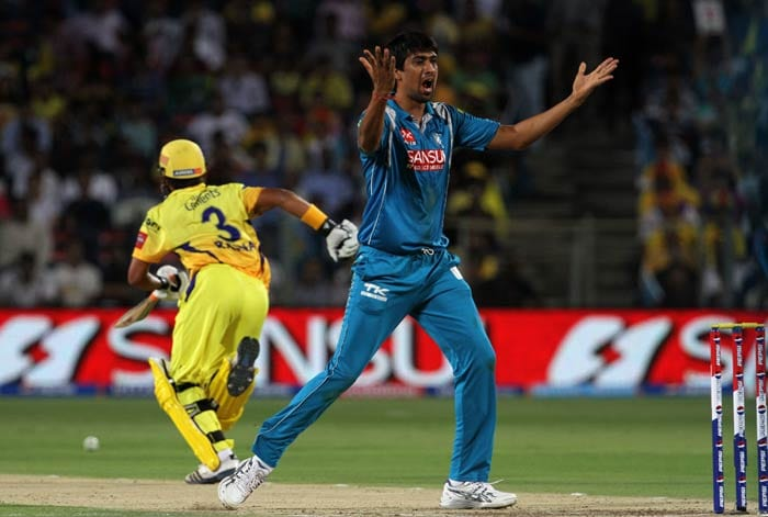 Rahul Sharma after bowling to Wriddhiman Saha of Chennai Super Kings appealed loudly which was followed by a confused expression as the umpire took few seconds before he gave his verdict - in favour of the bowler. (BCCI image)