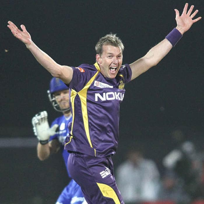 Kolkata's Bret Lee is another player who is extremely passionate about his bowling. Some feel he takes his on-field performance too seriously!<br><br> This is evident here at least as he appeals to send Rajasthan's Shane Watson back. (BCCI image)