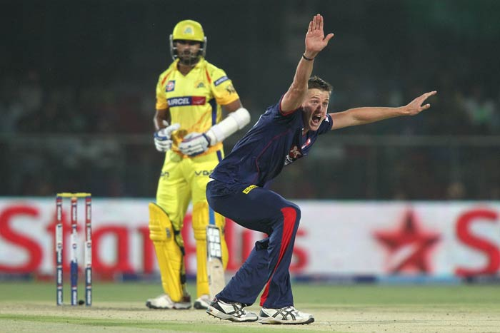 There are no half measures when Morne Morkel has the ball in his hand. <br><br> The Delhi Daredevils' player puts his all in asking the umpire for the wicket of Chennai's Murali Vijay. (BCCI image)