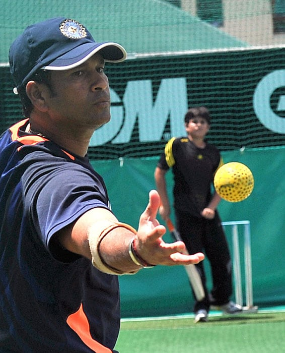 This was one net session that even Sachin Tendulkar would have only dreamt of when he started playing cricket.<br><br> But Arjun was at ease as he practiced alongside the big guns. (AFP Photo)