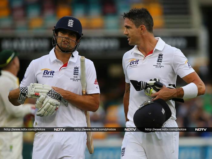 England final reply in the Test was weak. <br><br>Michael Carberry and Jonathan Trott were sent back before close of play, leaving Alastair Cook and Kevin Pietersen (in pic) to plan a miracle for Day 4.