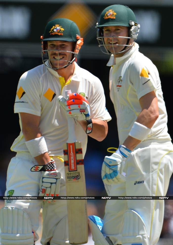 David Warner and skipper Michael Clarke were responsible for making England bowlers sweat it out. <br><br>Both batsmen hit confident centuries on Day 3 of the match to dominate proceedings.