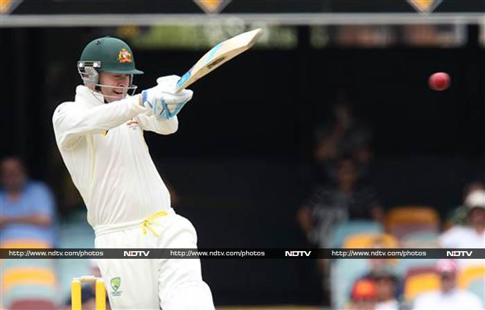 Soon, he was joined at the crease by Michael Clarke (in pic).<br><br> Clarke may have scored just one in the previous innings but seemed in no mood to repeat the same.