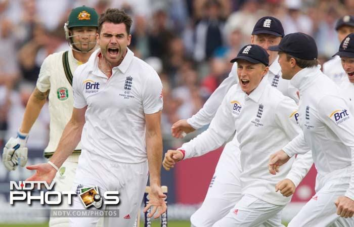 James Anderson was not going to be silent with his junior firing on all cylinders. <br><br> He bowled the Aussie skipper while he was still to open his account.<br><br> Steve Smith and Phil Hughes will resume the innings on Day 2.