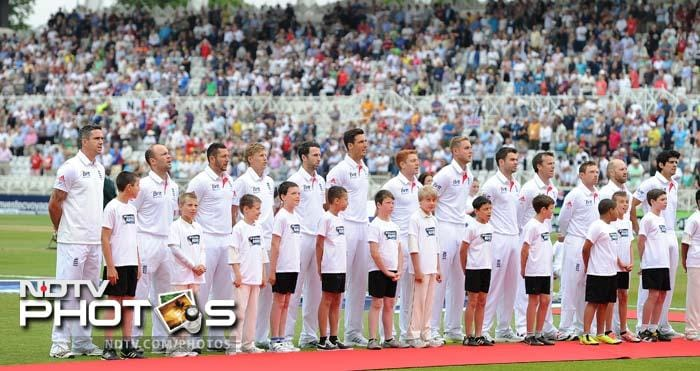 The England team is seen here during the national anthem.