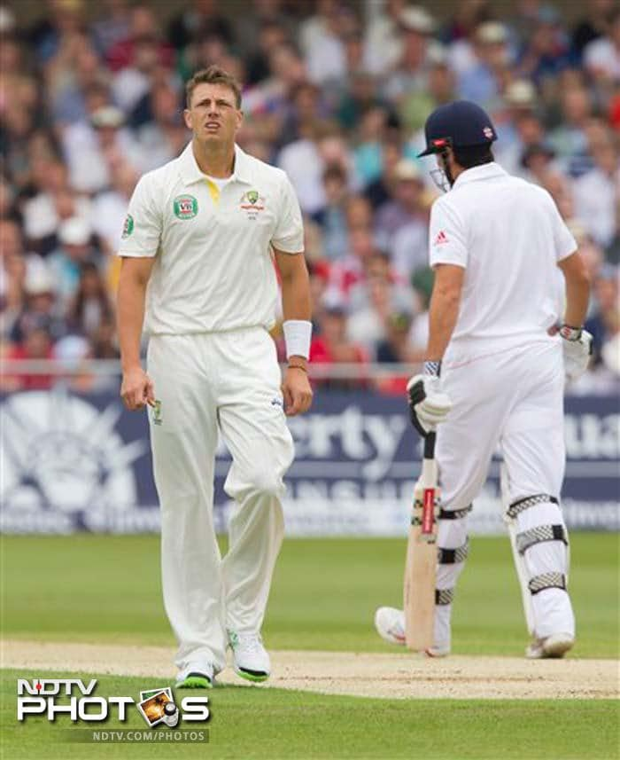 It was James Pattinson who was responsible for denting Cook's confidence when he struck in the ninth over of the day to remove the batsman on 13.