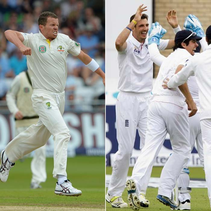 Day 1 of the Ashes 2013 series was completely dominated by the bowlers of the two sides.<br><br> While Australia's Peter Siddle claimed five wickets to bundle the hosts out for 215, it was Steven Finn's early strikes that put England right back in the match and halted Australia on 75/4, 140 behind. A look...<br><br>All images courtesy AFP and AP.