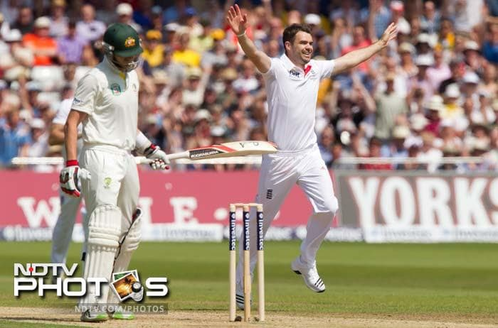 The 30-year-old is seen celebrating the wicket of Peter Siddle (left).<br><br> His five-wicket haul helped England push Australia to 117/9.