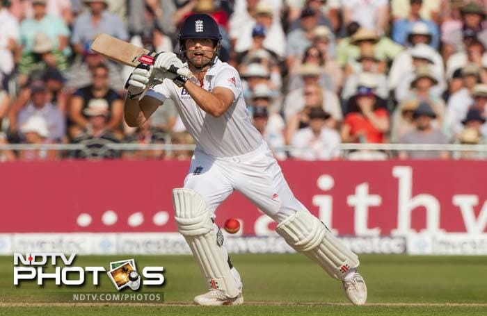 Cook (37) steadied the innings though and alongwith Pietersen (35), remained unbeaten till the end.<br><br>England ended the day on 80/2 - a lead of 15.