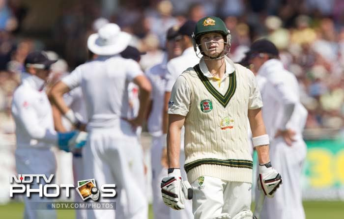 The visitors had their back to the wall when proceedings began on Thursday. Resuming the innings, Steve Smith was the first to depart when he edged James Anderson on 53.
