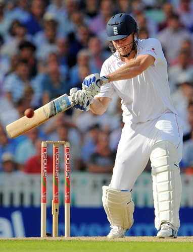 England batsman Andrew Flintoff hits out and is caught out by Australia on the first day of the fifth and final Ashes Test match between England and Australia at the Brit Oval in London on Thursday. (AFP Photo)