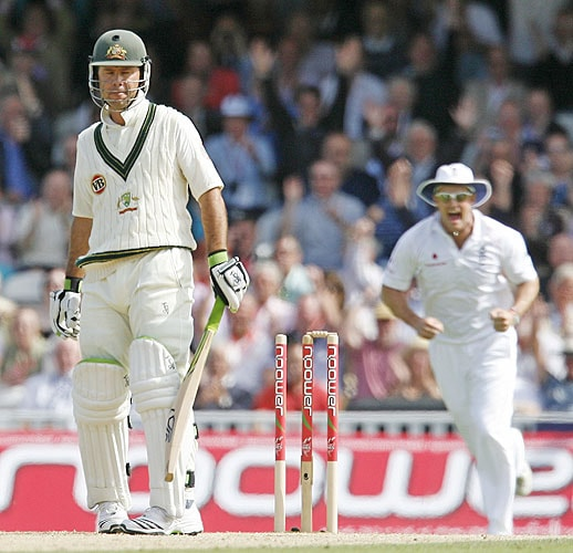Australia's Captain Ricky Ponting gestures as he is bowled by England's Stuart Broad (not pictured) for 8 runs on the second day of the fifth and final Ashes Test match at the Brit Oval in London, on Friday. (AFP Photo)