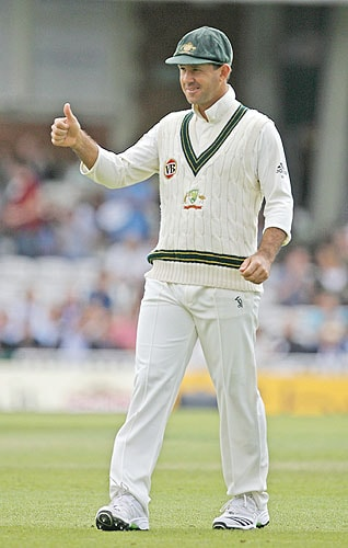 Australia's captain Ricky Ponting gestures on the second day of the fifth and final Ashes Test match against England at the Brit Oval in London, on Friday. (AFP Photo)
