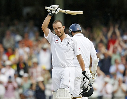 England's Jonathan Trott celebrates after reaching 100 runs not out on his England Test debut during the third day of the final Ashes Test match against Australia at the Brit Oval in London on Saturday. (AFP Photo)