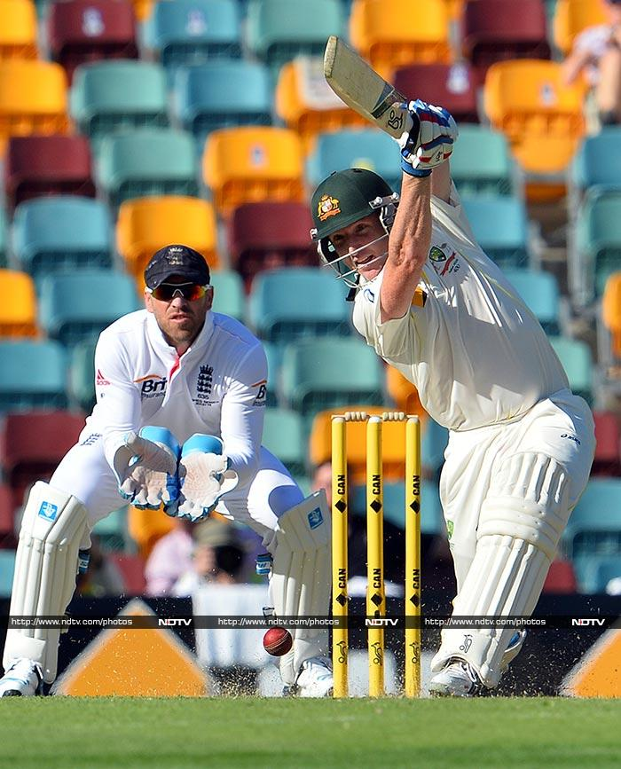 Brad Haddin, with 78 from the opening day, led Aussies in the morning session. His eventual run-out on 94 ended the hosts' innings on 295.