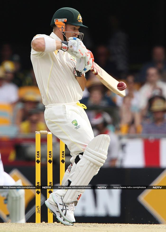 The Aussies were not willing to give anything back to England and by close of play, openers David Warner (in pic) and Chris Rogers had scored 65.