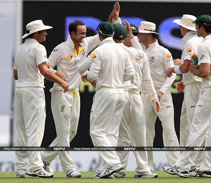 Spinner Nathan Lyon too was part of the action and is seen celebrating one of his two wickets. <br><br>He claimed Ian Bell and Matt Prior.