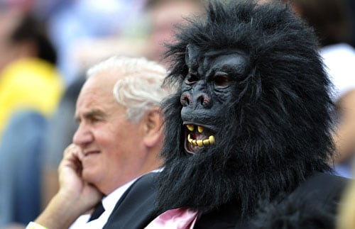 Two spectators - one dressed as a gorilla - watch Engalnd play Australia on the fourth day of the first Ashes Test match in Cardiff. (AFP Photo)