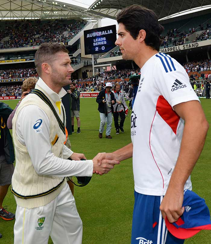 A glum-looking Alastair Cook walked out to congratulate his opposite number Michael Clarke after the hosts completed their 218-run victory.