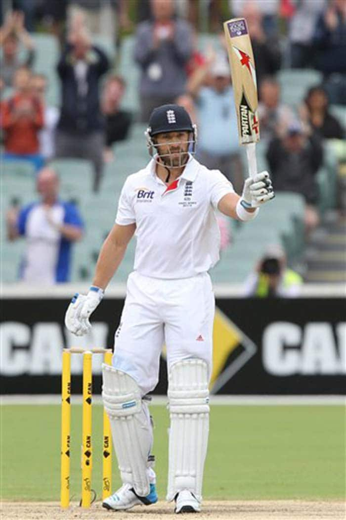 Chasing 531 and continuing from an overnight score of 247/6, England's only bright spot on the final day was middle-order batsman Matt Prior, who completed his half-century. (All AFP and AP images)