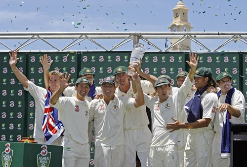 So far 65 Ashes series have been played. Earlier, it was played every year but from 1890 onwards, the Ashes was played every alternate year. However the two World Wars had disrupted the format but it soon got back on track after they were over. So far Australia have won it 32 times while England have taken it back 28 times. Clearly, the Aussies have been the dominant side in Ashes history, winning 131 Tests to England's 97 with 88 draws. (AFP Photo)