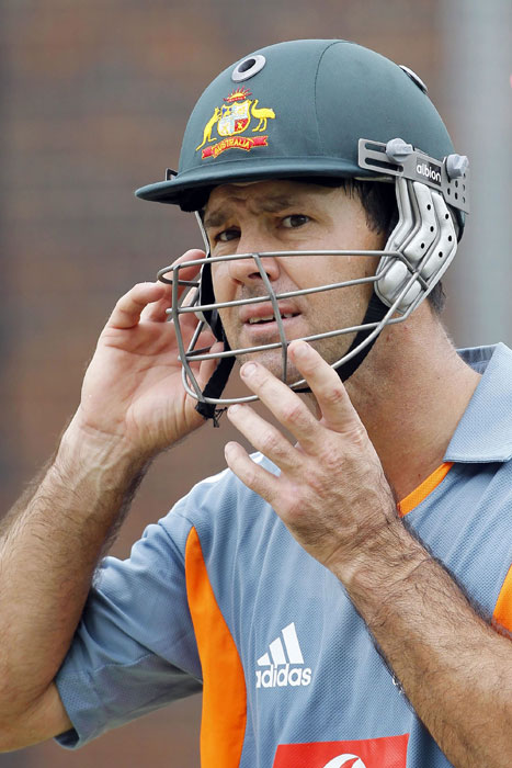 <b>All Set:</b> Ponting during a team training session in Brisbane. (AFP Photo)