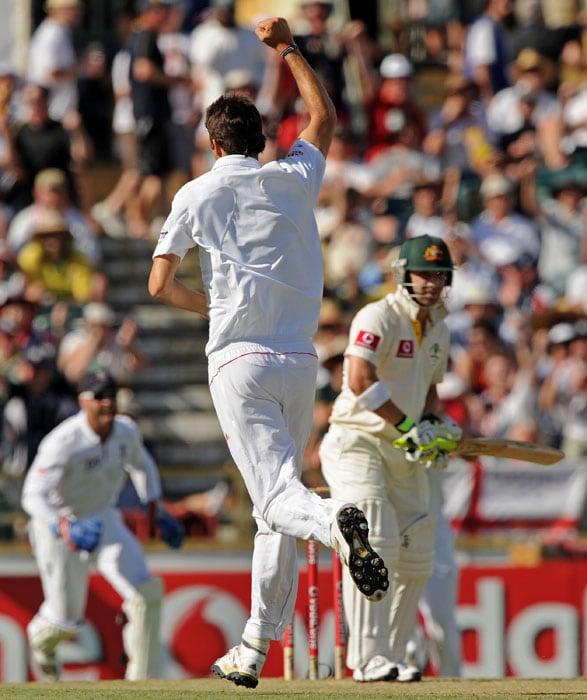 <b>Day 2:</b> Steven Finn raises his fist after dismissing Australian batsman Phillip Hughes for 12 runs in Australia's second innings on day two of the third Ashes Test against England at the WACA Ground in Perth. (AFP Photo)