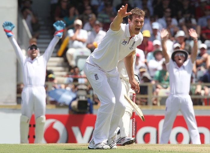 England fast bowler Chris Tremlett appeals against Australian batsman Brad Haddin on the first day the third Ashes Test match at the WACA ground in Perth. (AFP Photo)