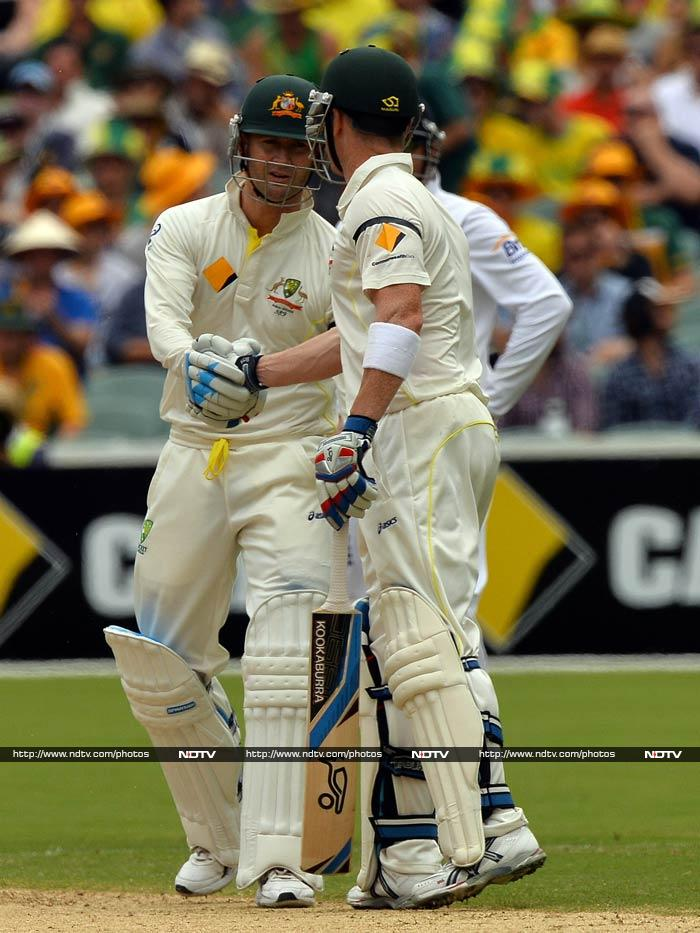 It was very much Australia's day as Michael Clarke and Brad Haddin put on 200 runs -- the highest sixth-wicket stand in all Tests in Adelaide, eclipsing the 191 shared by Imran Khan and Wasim Akram for Pakistan in 1990.