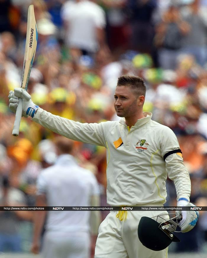 Skipper Michael Clarke claimed his third century in five Ashes Tests and his 26th overall.