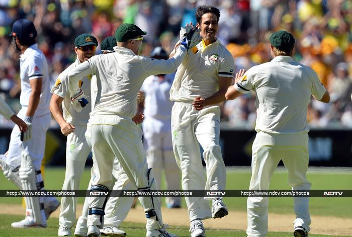 Mitchell Johnson, hurling down 150 km/h (93 mph) thunderbolts, knocked over Cook for three in his second over to ram home Australia's advantage. By the close, the tourists were hanging on against a hostile Australian attack at 35 for one with Michael Carberry on 20 and Joe Root not out nine.