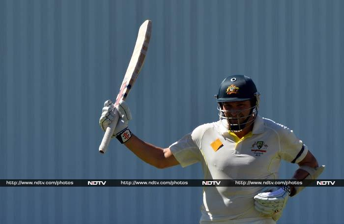 Following Clarke's dismissal, Australia lost the wickets of Johnson (5) and Peter Siddle (2) before fast bowler Ryan Harris continued the plunder with consecutive sixes off spinner Graeme Swann as he reached his second Test half-century on 55 when Clarke called a halt with 21 overs left.