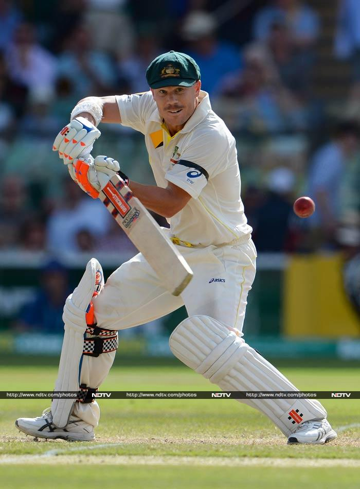 David Warner was in line for his second century of the series on 83 with Steve Smith not out 23 in Australia's 132 for three.
