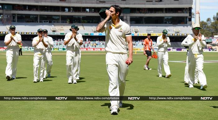 Mitchell Johnson tormented England by taking seven wickets with some fearsome fast bowling. Johnson took 7-40, including a withering spell of 5-12 in 18 balls.