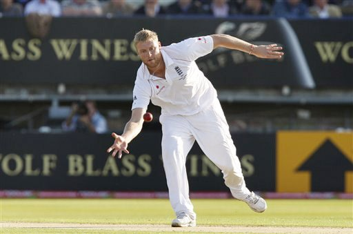 Andrew Flintoff fields off his own bowling on the first day of the third Test between England and Australia in Birmingham. (AP Photo)