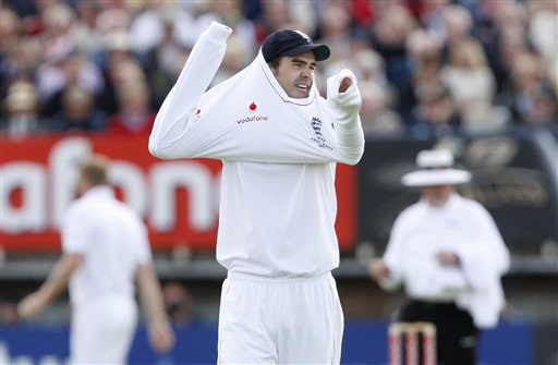 James Anderson is seen on the first day of the third Test between England and Australia in Birmingham. (AP Photo)