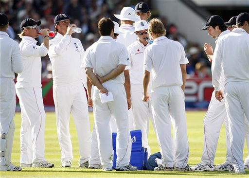 England players take a drink break on the first day of the third Test between England and Australia in Birmingham. (AP Photo)