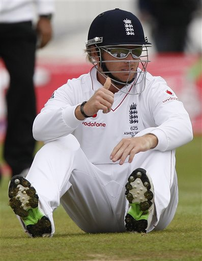 Ian Bell reacts on Day 2 of the third Test between England and Australia at Edgbaston in Birmingham. (AP Photo)