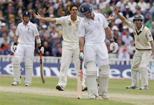 Mitchell Johnson appeals unsuccessfully for LBW on Day 2 of the third Test between England and Australia at Edgbaston in Birmingham. (AP Photo)