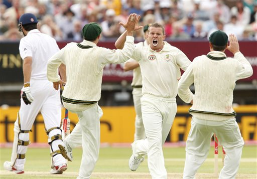 Peter Siddle reacts after taking the wicket of Alastair Cook caught by wicketkeeper Graham Manou for 0 on Day 2 of the third Test between England and Australia at Edgbaston in Birmingham. (AP Photo)