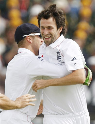 Graham Onions celebrates the wicket of Michael Hussey on Day 2 of the third Test between England and Australia at Edgbaston in Birmingham. (AP Photo)
