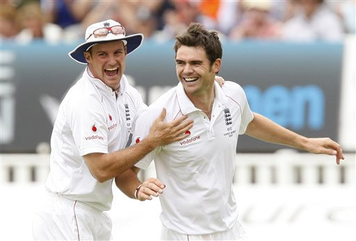 James Anderson celebrates with captain Andrew Strauss after taking the wicket of Marcus North caught by wicketkeeper Matthew Prior on Day 2 of the third Test between England and Australia at Edgbaston in Birmingham. (AP Photo)