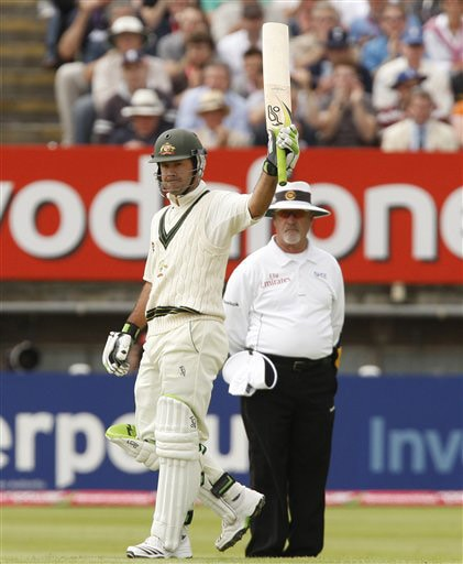 Ricky Ponting reacts after becoming the highest run scorer for his country on Day 2 of the third Ashes Test match between England and Australia at Edgbaston in Birmingham. (AP Photo)