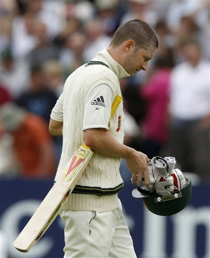 Michael Clarke leaves the field after being bowled LBW by James Anderson on Day 2 of the third Test between England and Australia at Edgbaston in Birmingham. (AP Photo)