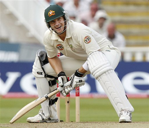 Shane Watson reacts after he plays a shot off the bowling of Graham Onions on Day 4 of the third Ashes Test between England and Australia at Edgbaston ground in Birmingham on August 2, 2009. (AP Photo)