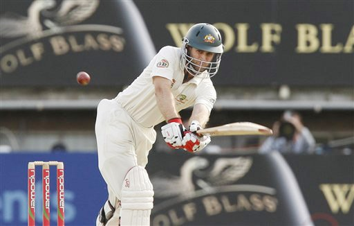 Simon Katich plays a shot off the bowling of James Anderson on Day 4 of the third Test between England and Australia in Birmingham. (AP Photo)