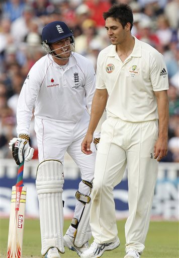 Graeme Swann exchanges words with Mitchell Johnson on Day 4 of the third Ashes Test between England and Australia at Edgbaston in Birmingham. (AP Photo)