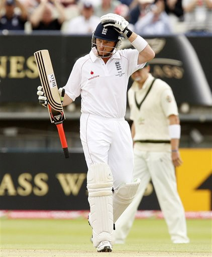Ian Bell reacts after reaching 50 on the fourth day of the third Test between England and Australia in Birmingham. (AP Photo)