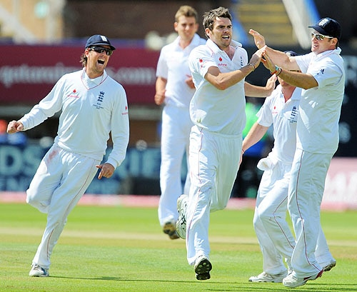 James Anderson celebrates dismissing Shane Watson for 53 runs on the final day of the third Ashes Test between England and Australia at Edgbaston in Birmingham. (AFP Photo)